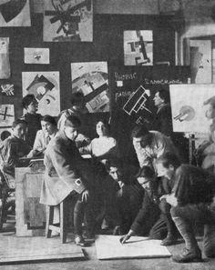 Kazimir Malevich teaching students of Unovis, Vitebsk, 1925.