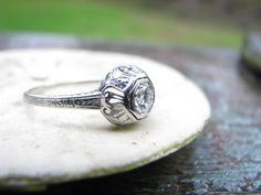 Exquisitely Detailed Art Deco 18K White Gold Diamond Engagment Ring - Old European Cut Diamond - Fine Maker Belais Brothers, Lovely Old Box. $758.00, via Etsy.