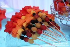 Mixed fruit skewers by Sweet Anush exclusively for Royal Palace Banquet Hall Glendale CA 818.502.3333.