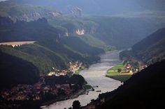 Elbe River towards Czech Republic  Looking into the Czech Republic from Germany, on the Elbe River.