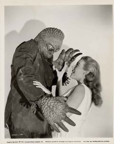 The Mole People Publicity photo featuring a mole man and and actress Cynthia Patrick who plays the Sumerian reject Adad. Classic Monster Movies, Classic Horror Movies, Classic Monsters, Horror Monsters, Scary Monsters, Famous Monsters, Sci Fi Movies, Scary Movies, Old Movies