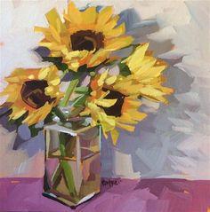"Daily Paintworks - ""Sunflower Shadows"" - Original Fine Art for Sale - © Teddi Parker"