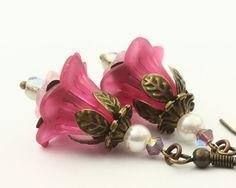 Wedding Earrings Lucite Flower Earrings Romantic by TrinketHouse, $7.50