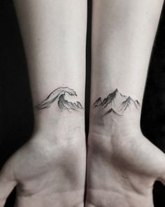 Wave and mountains tattoo by Stella Luø