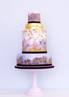 Watercolour Wedding Cake by Rosalind Miller Cakes London