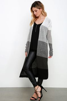 Grey Striped Cardigan Sweater