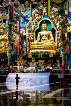 The interior of Namdroling Monastery (AKA the Golden Temple), a Buddhist monastery in Bylakuppe, India's second largest Tibetan settlement. Bylakuppe is a great destination to visit if you're looking for off the beaten track places in Karnataka state!