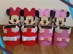 Resultado de imagem para lembrancinhas feitas de latas para guloseimas da minnie vermelha