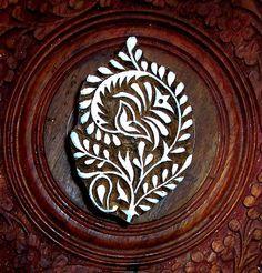 Hand Carved Floral Wood Stamp Indian Print by PrintBlockStamps, $18.95
