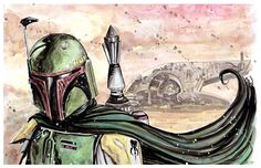 Star Wars Boba Fett tribute by Gary Shipman, in Gary Shipman's Gary Shipman - Art For Sale Comic Art Gallery Room
