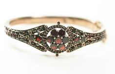 LARGE Antique Bohemian Garnet Bracelet Bangle Czech Victorian Rose Table Top Pomegranate Red
