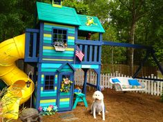 Painted play set & love the idea of that bench swing in place of the kiddie swings
