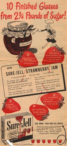 This is an advertisement from a magazine dated 1947 for Sure-Jell, it was published around the time when sugar and food rations were a concern. Description from recipecurio.com. I searched for this on bing.com/images
