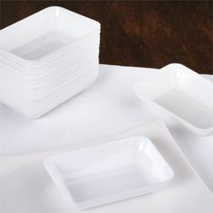 """Measurements: Approx. 2"""" wide x 3"""" long <br> Quantity: 20 Slick Rectangle Dessert Plate per order<br> Material: Plastic<br> Note: This item is BPA Free<br> WARNING: Not Microwave or Dishwasher Safe"""