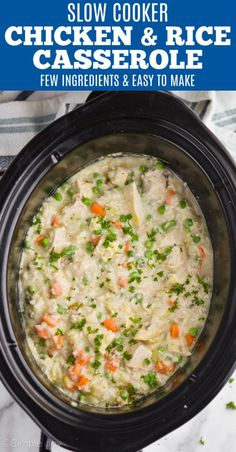 This Crockpot Chicken and Rice Casserole is just a few simple ingredients. A great easy recipe for weeknight dinners.