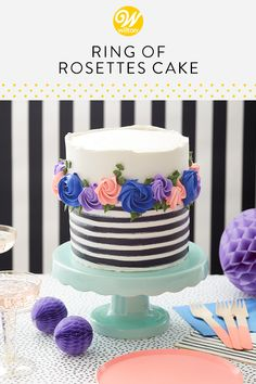 Ring of Rosettes Cake - Trend Pretty Cakes 2019 Easy Cake Decorating, Cake Decorating Techniques, Cake Decorating Tutorials, Fondant Cakes, Cupcake Cakes, Fondant Rose, Fondant Baby, 3d Cakes, Fondant Flowers