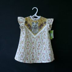 organic cotton cat print baby toddler dress via Etsy