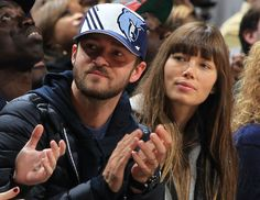 November 23, 2012 - Justin Timberlake, who is a member of Memphis Grizzlies minority ownership group cheers on the Memphis Grizzlies with wife Jessica Biel at his side Friday evening at the FedExForum. (The Commercial Appeal/ Nikki Boertman)