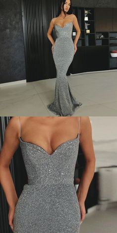 Mermaid Spaghetti Straps Sleeveless Silver Long Prom Dresses Sparkly Long Prom Party Dresses for Girls Sparkly Prom Dresses, Gala Dresses, Mermaid Prom Dresses, Dance Dresses, Bridesmaid Dresses, Long Party Dresses, Party Dresses For Girls, Long Sleeve Mermaid Dress, Evening Dresses For Weddings