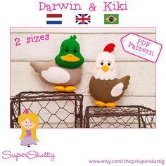 PDF pattern Darwin & Kiki sewing felt pattern for by SuperSkattig