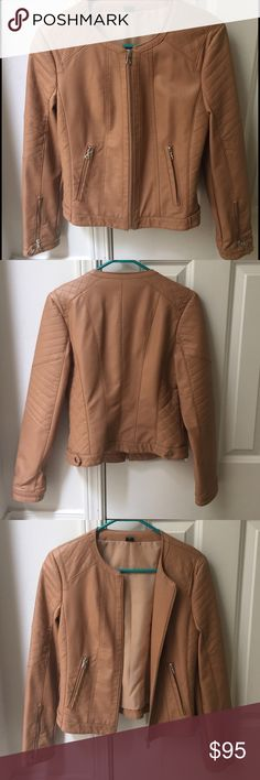 Tan faux leather jacket size small Tan faux leather jacket from Nordstrom. Never worn, size small. Zip pockets, zippers and buttons at cuff. Jackets & Coats