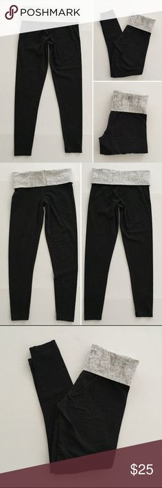 """[PINK•VS] black yoga fold over leggings pants S [PINK•VS] yoga fold over leggings pants S •🆕listing •good pre-owned condition •black with grey leopard fold over waistband •length/inseam 27"""" •sequin """"LOVE PINK"""" on back waistband •material 87% cotton 13% elastane •some overall lightening to material •offers welcomed using the offer feature or bundle/bundle offers for the best discount• PINK Victoria's Secret Pants Ankle & Cropped"""