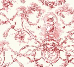 Monday: Any Toile-Pinner's Choice of color Toile Wallpaper, Victorian Wallpaper, French Wallpaper, Toile Bedding, French Fabric, Home Decor Fabric, Floral Wall, Delft, Chinoiserie