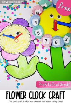 These FREE flower clock crafta are a fun way to teach kids about telling the time. Perfect for spring and garden themes too! #clockcraft #clocktemplate #tellingtime #timeactivities #prek #kindergarten #preschool #paperplatecraft #finemotor #kidscraft #firstfgrade Telling Time Activities, Early Learning Activities, Fun Math Activities, Spring Activities, Teaching Kindergarten, Hands On Activities, Preschool Activities, Math Resources, Teaching Ideas