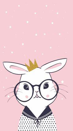 New Wall Paper Cute Kawaii Illustrations Ideas Iphone Wallpaper Pink, Trendy Wallpaper, Kawaii Wallpaper, Rabbit Wallpaper, Baby Wallpaper, Iphone Wallpapers, Cute Backgrounds, Wallpaper Backgrounds, Scrapbooking Image