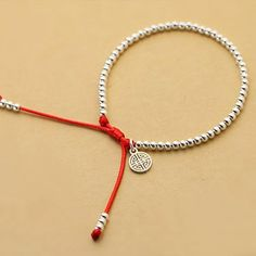 Women Handmade Sterling Silver Beads Bracelet Lucky Red Rope Bangle Jewelry in Jewelry & Watches Fashion Jewelry Charms & Charm Bracelets Homemade Jewelry, Diy Jewelry, Beaded Jewelry, Jewelry Making, Beaded Bracelets, Charm Bracelets, Embroidery Bracelets, Jewelry Accessories, Jewelry Necklaces
