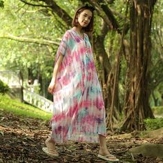 Summer new printed chiffon loose dress robes (can be customized)