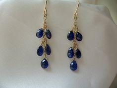 "Blue Kyanite 1 3/4"" total 14k gold filled dangle earrings gemstone handmade item 450"