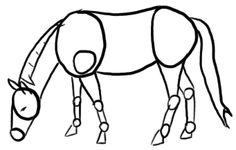 Vorzeichnung Grasendes Pferd
