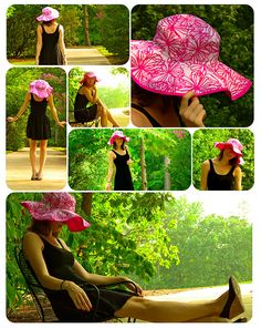 Hats for Women: DIY Sun Hat - Sewing Tutorial, there is another tu. Sewing Hacks, Sewing Tutorials, Sewing Crafts, Sewing Projects, Diy Straw, Hat Tutorial, Diy Hat, Sewing Accessories, Sewing Patterns Free