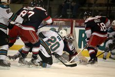 Worcester Sharks forward Chad Rau with a shot on goal from his knee (April 9, 2014).