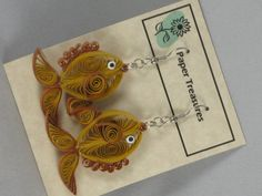 Pumpkin/Straw Fish Earrings ♥ by QuillPaperTreasures on Etsy, $12.00
