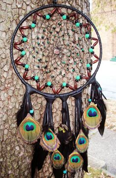 Dream Catcher Beaded with Peacock feathers by 7WishesDreamcatchers, $80.00