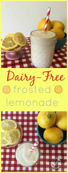 Dairy Free Frosted Lemonade | copycat version of Chick-Fil-A's drink made dairy free using cashew milk or almond milk ice cream.