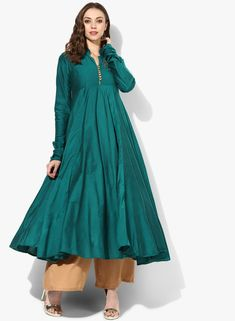 Buy Sangria Band Collar Anarkali With Long Sleeves & Embroidery On Yoke Online - 2876083 - Jabong Anarkali Kurti, Salwar Kameez, Indian Fashion Dresses, Indian Outfits, Western Outfits For Women, Clothes For Women, Kurta Designs, Dress Designs, Designer Kurtis