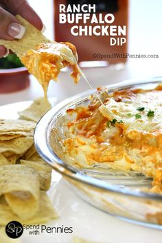 Ranch Buffalo Chicken Dip. Layers of creamy cheese, chicken and buffalo sauce topped with more cheesy goodness! Perfect for game day!