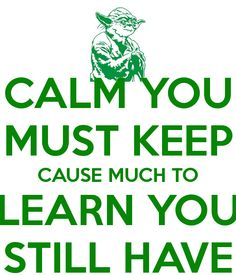 CALM YOU MUST KEEP CAUSE MUCH TO LEARN YOU STILL HAVE