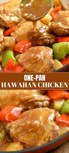 Hawaiian Chicken for an easy yet super tasty weeknight dinner. Bursting with sweet and tangy flavors, it's fantastic with steamed rice and your favorite veggies! #chicken #onepanmeals #pineapple #easyrecipes #comfortfood