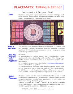 Musselwhite & Wagner, 2006  Placemats are a great way to supplement device use with light-tech  use of symbols (especially for messy times when we don't want dirty  fingers smudging up the communication devices).