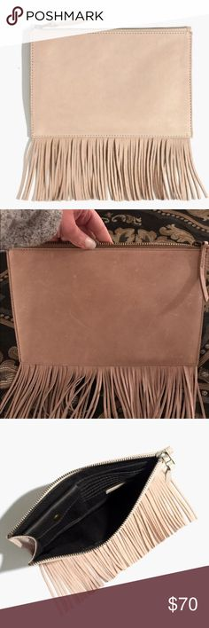 """MADEWELL the leather fringe pouch clutch This fringed leather pouch is fitted out with card slots and a snap-close compartment. Throw it inside your tote or carry it as a clutch—it's that versatile.  Sold out on website.   Washed leather. Please note: As it is made of a natural material, each wallet varies slightly in texture & color. Zip closure. Interior card slots, interior pocket. 6""""H x 9""""W. Color Vintage Canvas. Brand new. Never worn. No trades. Reasonable offers only will be…"""