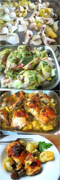 The Chew's Baked Artichoke Chicken || very good flavor. might make with breasts next time (personal preference) - let marinate in sauce for longer time. would double mushrooms - delish!