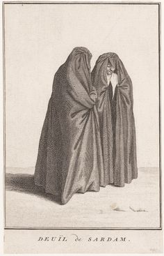 Twee rouwende vrouwen gekleed in een huik te Zaandam Deuil de Sardam ca 1700 #NoordHolland #Zaanstreek