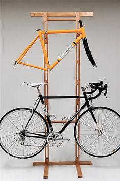 Storage ideas for bike gear Diy Bike Rack, Bike Hanger, Bike Storage Rack, Bicycle Rack, Rack Velo, Bici Retro, Bike Storage Apartment, Bike Wall Mount, Bike Shelf