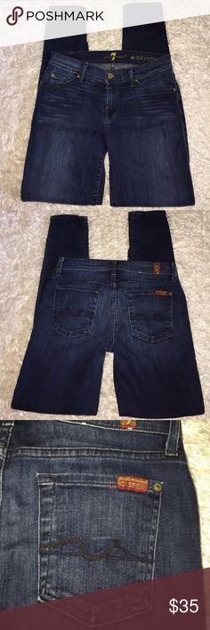 """7 For All Mankind Skinny Jeans Size 25, great condition! Inseam: 29"""". Medium-Dark wash. Rise: 8"""". Feel free to ask any questions! No trades sorry, & offers thru the offer button only! . 7 For All Mankind Jeans Skinny"""