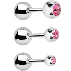 """16 Gauge 1/4"""" Pink Gem Cartilage Tragus Barbell Set of 3 