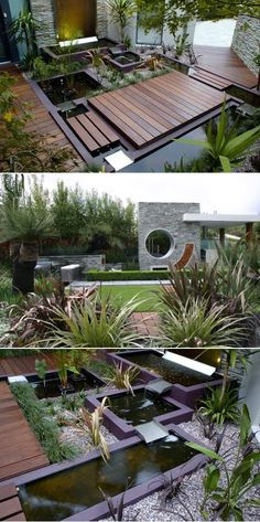 stunning intergration of hardscape, water elements, multiple materials, drought-tolerant plants with the star: the home itself... found here http://pinterest.com/pin/172755335678877806/